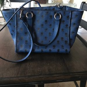 Coach crossbody - navy blue coated canvas